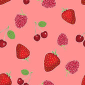 Vector seamless pattern of berries on pink background — Stock Vector