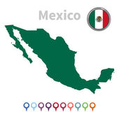 Vector map and flag of Mexico — Stock Vector