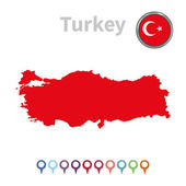 Vector map and flag of Turkey — Stock Vector