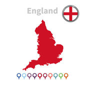 Vector map and flag of England — Stock Vector