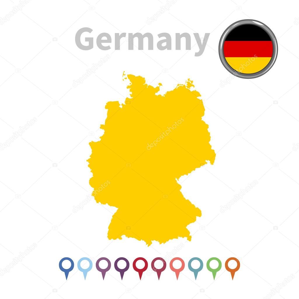 矢量地图和国旗的德国