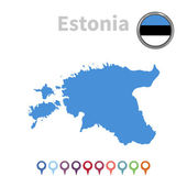 Vector map and flag of Estonia — Stock Vector