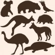 Vector set of australian animals silhouettes — Stock Vector