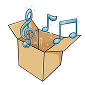 Vector cartoon box with music — Stock Vector