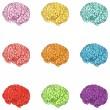 Vector set of color cartoon brains — Stock Vector