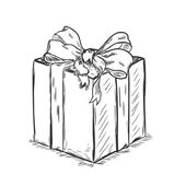Vector sketch illustration - gift box — Vector de stock