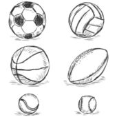 Esboço do vetor - bolas esportivas: futebol, voleibol, basquetebol, rugby, tênis, beisebol — Vetorial Stock