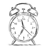 Vector sketch illustration - alarm clock — Stock Vector