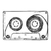Vector sketch illustration - audiocassette — Stock Vector