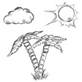 Vector sketch illustration - two palm trees, sun and clouds — Vector de stock