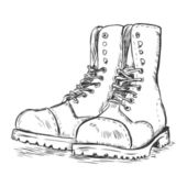 Vector sketch illustration - army boots — Stock vektor