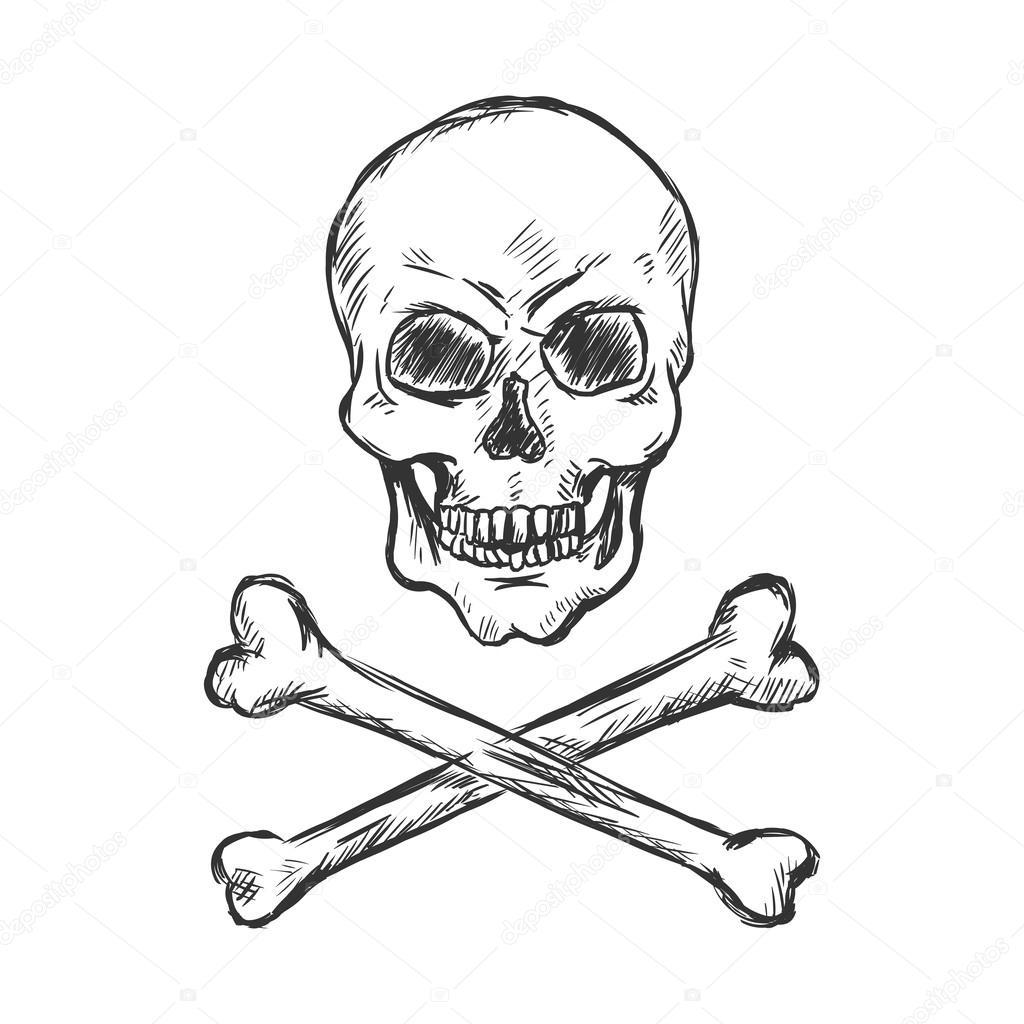 Vector illustration de croquis pirate t te de mort for Teschi da disegnare