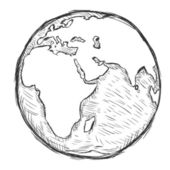 Vector sketch illustration - globe — Stok Vektör