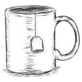 Vector sketch illustration - mug with tea bag — Vector de stock