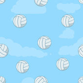 Vector seamless pattern of volleyball balls on blue background — Stock Vector
