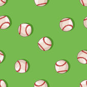 Vector seamless pattern of baseball balls on green background — Stock Vector