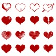 ストックベクタ: Vector set of red sketch hearts