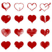 Vector set of red sketch hearts — ストックベクタ