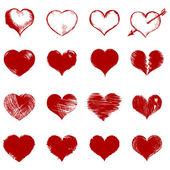 Vector set of red sketch hearts — Vector de stock