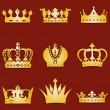 Vector set of 9 gold crown icons — Cтоковый вектор