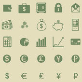 Vector set of 25 green finance icons — Stock Vector