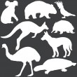 Stock Vector: Vector set of white australian animals silhouettes