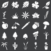 Vector set of white plants icons — Stock Vector
