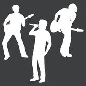 Vector white silhouettes of rock band: vocalist and two guitarists — Stock Vector