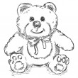 Vector de stock : Vector sketch illustration - teddy bear