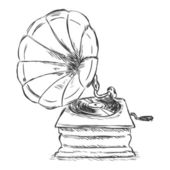 Vector sketch illustration - retro gramophone — Stok Vektör