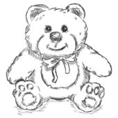 Vector sketch illustration - teddy bear — Vector de stock