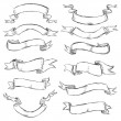 Vector set of sketch ribbons — Stock Vector
