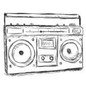 Vector sketch illustration - tape recorder — Stock Vector