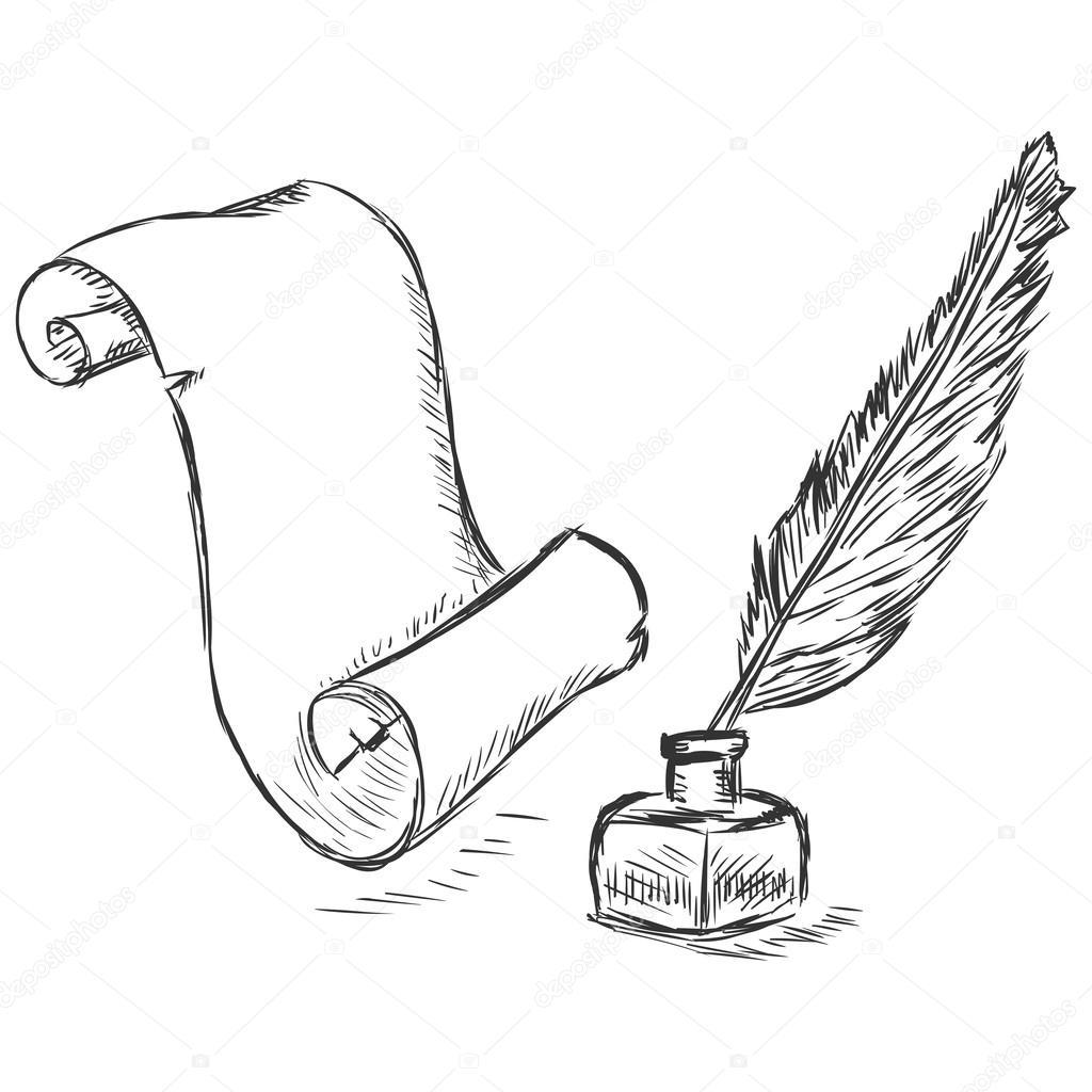矢量素描图-滚动, 笔和墨水瓶