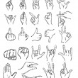Vector set of sketch finger gestures — Stock Vector #39228979