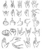 Vector set of sketch finger gestures — Stock Vector