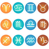 Vector set of zodiac sign in in the color elements: fire, earth, air, water — Stock Vector