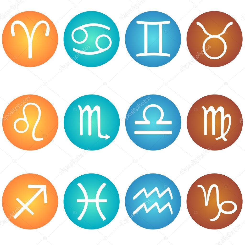 Vector conjunto de signo del zodiaco en los elementos de - Signos del zodiaco de tierra ...