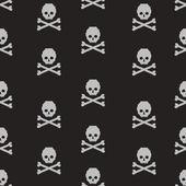 Vector seamless pattern with pixel skulls and bones — Stock Vector