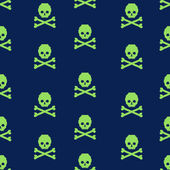 Vector seamless pattern with pixel skulls and bones — Stockvektor