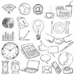 Vector set of 25 hand draw business icons — Stock Vector
