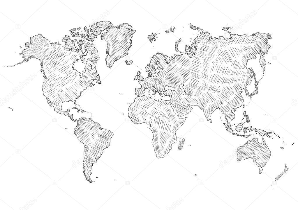 矢量素描图-世界地图轮廓