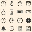 Stock Vector: Vector Set of 16 Time Icons