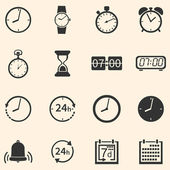 Vector Set of 16 Time Icons — Stock Vector