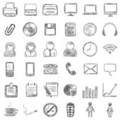 Vector set of 36 black sketch icons — Stock Vector