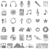 Vector Set of Sketch Music icons — Stock Vector