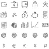 Vector Set Of Sketch Finance Icons — Stock Vector