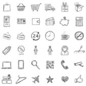 Vector Set Of Sketch Shopping Icons — Stock Vector
