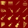 Stock Vector: Vector set of 16 musical instruments icons