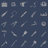 Vector set of 25 grey work  tool icons — Stock Vector